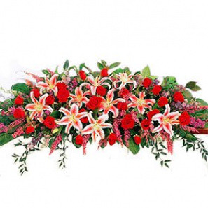 Rose and Lily Casket Arrangement buy at Florist
