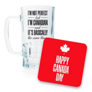 Canada Day Beer Mug and Coaster Set I