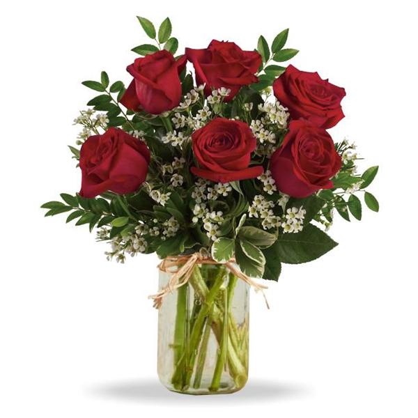 Sweetheart Roses in Mason Jar buy at Florist